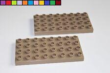 Lego Duplo - 2x Bauplatte - 4 x 8 - 32 Noppen - braun schlamm - Platte