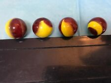 FOUR EGG-YOLK AND OX BLOOD MARBLES-----NEAR MINT-------------------------------J