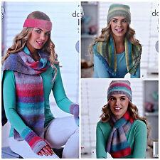 KNITTING PATTERN Ladies Easy Hat Scarf Hat Gloves &Neck Warmer DK King Cole 4694