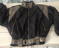 Vtg Womens Slalom Ski Jacket Zip 80s 90s Stardust Puffer Black/Gold  Size 10