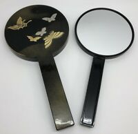 SMITHSONIAN Asian-Inspired Black Butterfly Double Hand-held Mirror Set (RF954)