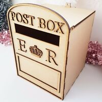 Wooden Wedding Post Box, Royal Mail Style MDF for Cards Letters Gifts Message