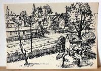 Tusche-Zeichnung von Wolfgang Franke, signiert, Hoyerswerda, 1959