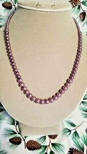 """Purple Graduated Size Glass Pearl Bead Single Strand 18"""" Necklace. Handcrafted"""
