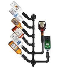 Industrial Liquor Wine Rack Bottle Wall Mount Holder Black Iron Pipe Bar Holders
