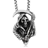Gothic Death Skeleton Skull Grim Reaper w Scyth Pendant Necklace Mens Box Chain