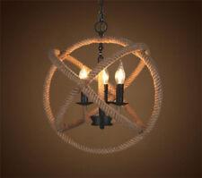 Hemp Rope Retro Chandelier Rustic Ceiling Fixture Sphere Pendant Lamp
