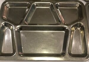 Vtg USN Cafeteria Divided Tray Military Stainless Steel Metal Mess Hall Prison