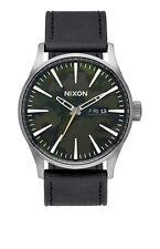 **BRAND NEW** NIXON THE SENTRY LEATHER WATCH GUNMETAL GREEN OXYDE A1052069 NIB!