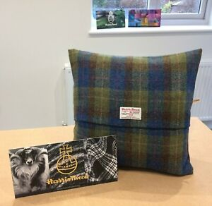 "HARRIS TWEED CUSHION COVER 16"" X 16"" BLUE AND GREEN CHECK"