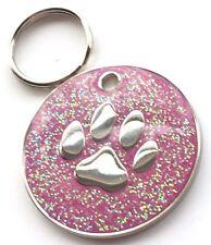 Incisione Personalizzata Rosa Glitter Impronta Zampa Cane/Gatto medaglietta ID
