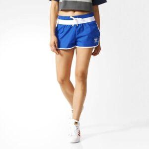 Adidas Trefoil Run Nylon Shorts Ladies Retro Running Sprinter Trousers Eqt Blue