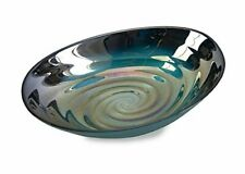 Imax 83101 Moody Swirl Glass Bowl Glossy Finish in Ocean Colors Food Safe