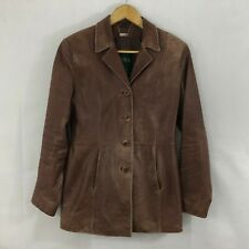 Danier Womens Jacket Size 8 Brown Leather Vintage Lined Blazer Casual