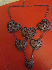 "Grey Metal Chain Hearts Bib Necklace - 20-22"" long"