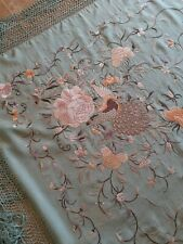 Antique Chinese Large Embroidery Double Sided Large Silk Shawl