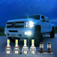 White LED Headlight Fog Light Bulbs For Chevy Silverado 1500 2500 2007-2015