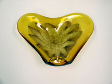 Murano Gold with White Flower Hand Blown in Italy Art Glass Bowl, Ashtray, Dish