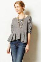 Saturday Sunday Anthropologie Heather Gray Knit Peplum Sweater Top Size XS