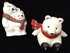 3 1994 Hallmark Merry Miniatures Tiny White Bears Scarves One Has Ice Skates