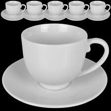 12tlg. Espresso Tassen Set Kaffeetassen Kaffee Tasse Becher Unterteller Weiß NEU