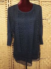 LADIES MILLERS NAVY LACEY FRONT BOHO TOP SIZE 20