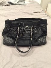 Vintage Chanel Black Pony Hair Leather Shoulder Bag Handbag