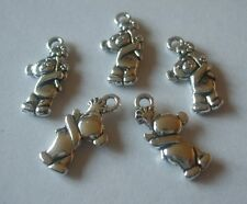 25 x Bear Teddy Charms 19x10mm Antique Silver Tone Pendants Crafts