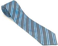 Clericci Mens Tie Necktie Tie Polyester Maya Baby Blue Yale Black Striped NWOT