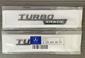 2x Gloss Black Turbo 4MATIC AMG For Mercedes Fender Sides Letters Emblem Badge