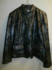 New Alfred Dunner Park Place Black Animal Print Jacket 14 Petite Silver Metallic