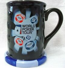 Vintage 2005 World Poker Tour ceramic glass beer stein mug colorful HTF