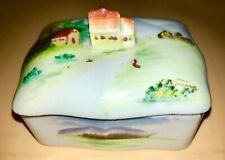 Vintage Porcelain Trinket Box, 2 Trays, Cottage Scene Hand Painted JAPAN Signed