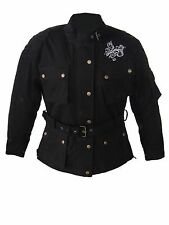 LADIES Black WAXED COTTON Motorcycle Breathable, WP Lined, ARMOUR BIKER JACKET