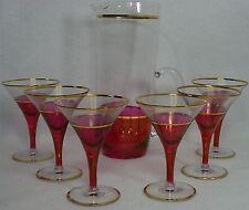 CRANBERRY FLASH crystal MARTINI PITCHER & GLASS Set 7-piece