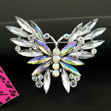 Betsey Johnson Fashion Jewelry Women white AB  CRYSTAL BUTTERFLY Brooch Pin