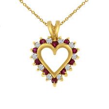 """14k Yellow Gold Ruby and Diamond Heart Shaped Pendant with 18"""" Chain"""