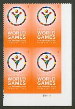 #4986 Special Olympics World Games, Plate Block, Mint **ANY 4=FREE SHIPPING**