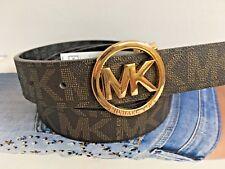 Michael Kors Women's Brown Black Reversible Goldtone Buckle Belt 551342 Size L