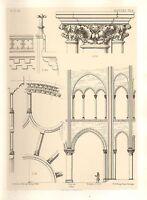 1858 Grande Architettura Stampa ~ Mantes Cathedral Medievale, Gotico Art