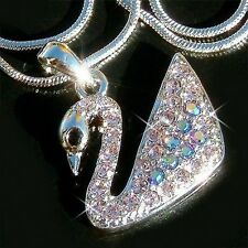 Lilac Purple w Swarovski Crystal SWAN Bridal Wedding Prom Charm Pendant Necklace