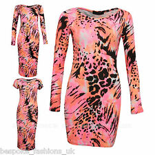 Womens Celeb Neon Animal Print Stretch Bodycon Cap Sleeve,Mini & Midi Dress 8-14