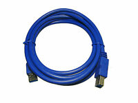 2 Pack Premium Quality USB 3.0 A Male to B Male Cable, 6 Feet, 6 Ft,  Blue