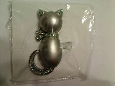 Grey Kitty Green Glitter Accent Fashion Brooch New Old Stock