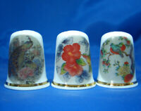 Birchcroft China Thimbles -- Set of Three -- Oriental Bird Designs