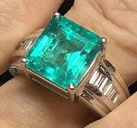 Vintage Heavy 18k Gold 5.88tcw VS 5.44ct Emerald .4ct VS Diamond Ring 11.3g
