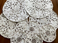 Vintage Lot Hand Embroidered Cutwork Off White Linen Taupe Doilies X 8