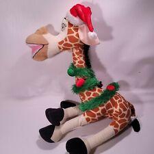 "Merry Madagascar Plush Christmas Melman Giraffe 16"" Tall Seated Dreamworks"