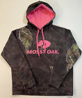 Mossy Oak Womens Camo Pullover Hoodie Sweatshirt Pink Logo Hunting Country Sz M