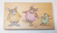 House Mouse Eggcellant Happy Hoppers Rubber stamp Easter bunnies HMVR1007